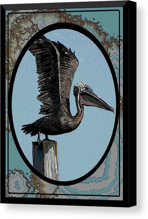 Pelican Canvas Print featuring the digital art Pelican Paradise by Karen Sheltrown