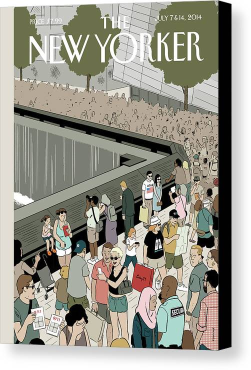 9/11 Canvas Print featuring the painting People Visit The 9/11 Memorial by Adrian Tomine