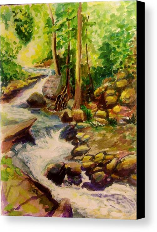 Watercolor Canvas Print featuring the painting Pocantica River Rapids by Nicolas Bouteneff