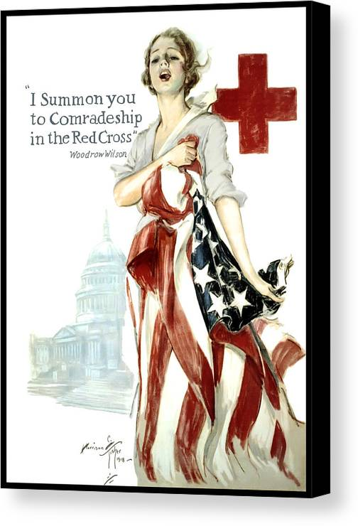 red Cross Canvas Print featuring the digital art Red Cross World War 1 Poster 1918 by Daniel Hagerman