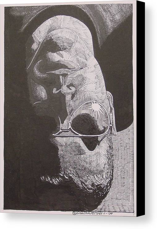 Portraiture Canvas Print featuring the drawing Reflection by Denis Gloudeman