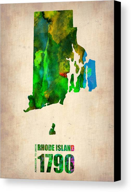 Rhode Island Canvas Print featuring the digital art Rhode Island Watercolor Map by Naxart Studio