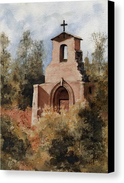 Ruin Canvas Print featuring the painting Ruins Of Morley Church by Sam Sidders
