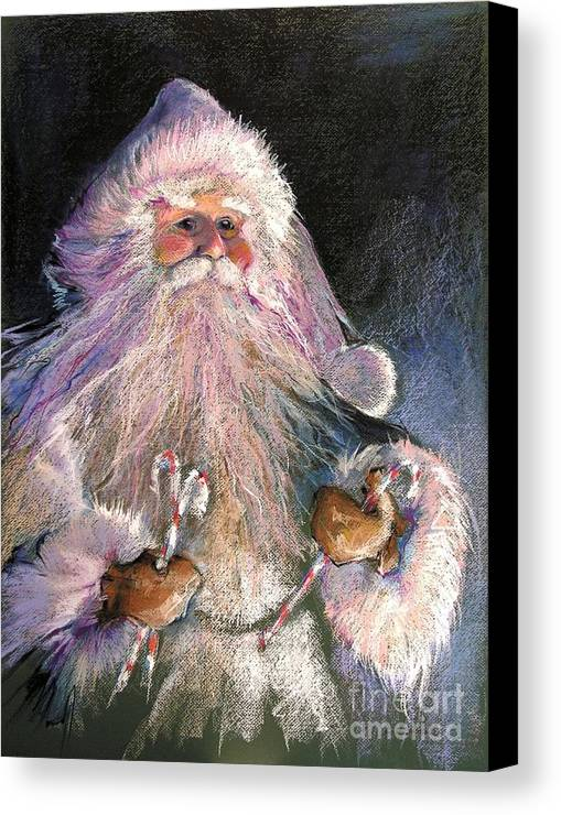 Santa Canvas Print featuring the painting Santa Claus - Sweet Treats At Fireside by Shelley Schoenherr