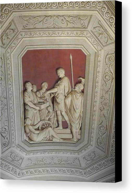 Canvas Print featuring the photograph Sculptured Vatican Ceiling by Herb Paynter