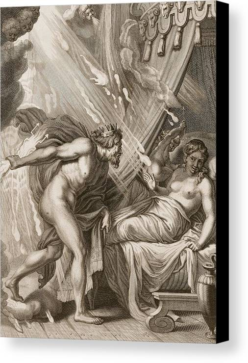 Jupiter Canvas Print featuring the drawing Semele Is Consumed By Jupiters Fire by Bernard Picart