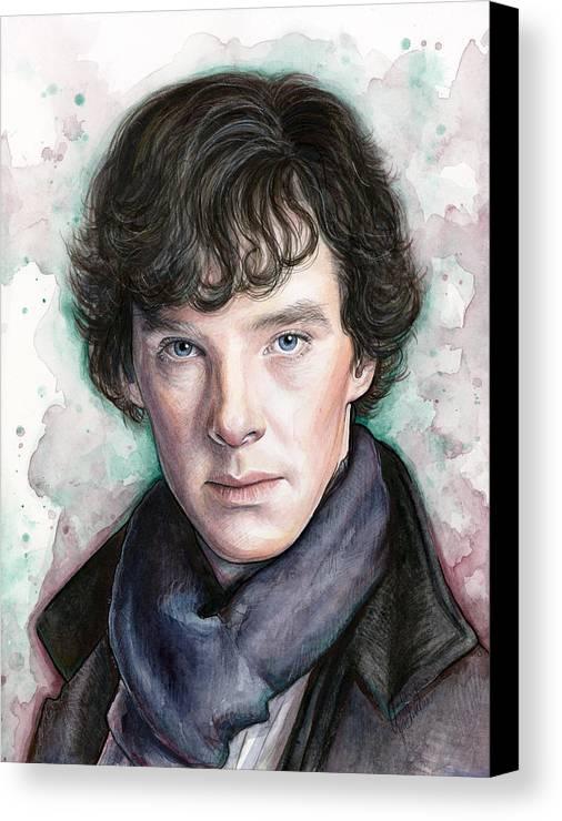 Sherlock Canvas Print featuring the painting Sherlock Holmes Portrait Benedict Cumberbatch by Olga Shvartsur
