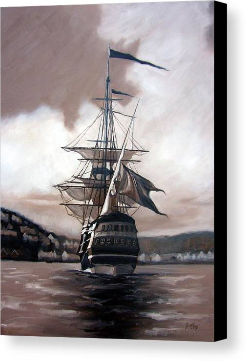 Pirate Ship Canvas Print featuring the painting Ship In Sepia by Janet King