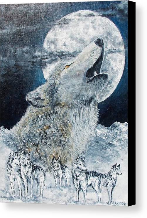 Wolf Canvas Print featuring the painting Spirit Of The Wolf by Walter Carrick