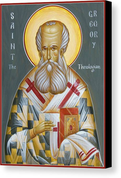 Orthodox Icon Canvas Print featuring the painting St Gregory The Theologian by Julia Bridget Hayes