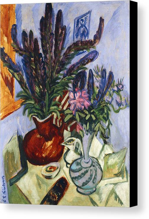 1910s Canvas Print featuring the painting Still Life With A Vase Of Flowers by Ernst Ludwig Kirchner