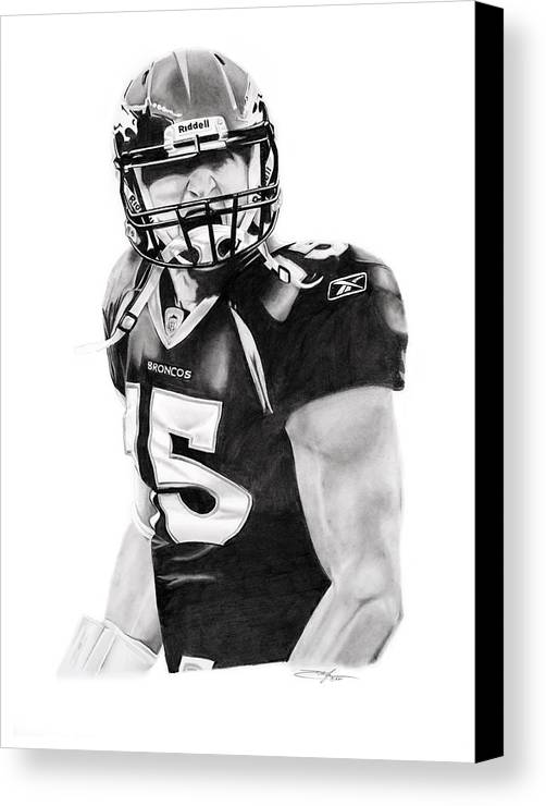Nfl Canvas Print featuring the drawing Tebow by Don Medina