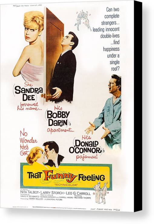 1960s Movies Canvas Print featuring the photograph That Funny Feeling, Us Poster Art by Everett