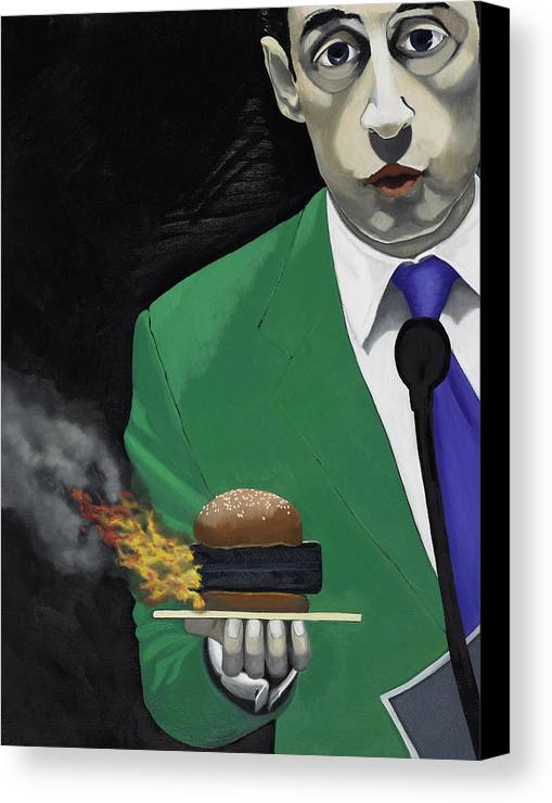 Burger Canvas Print featuring the painting The Banlieu Burger by Marcella Lassen