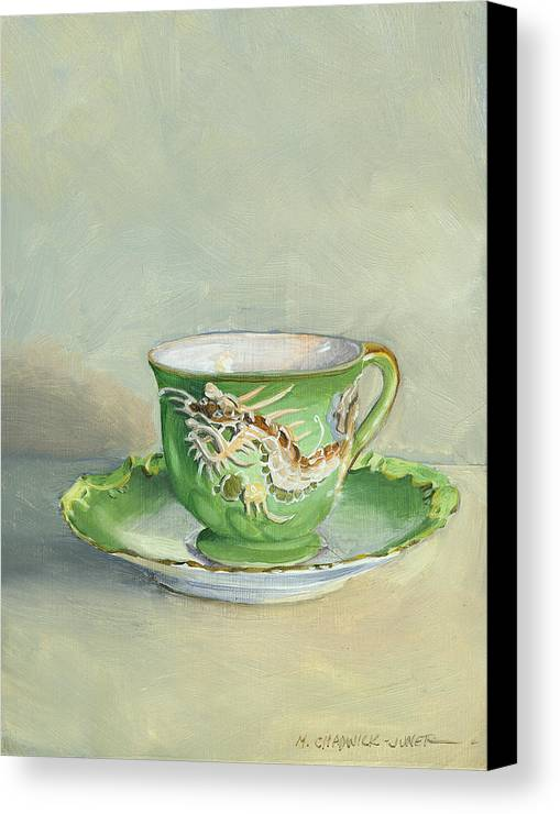 Teacup Canvas Print featuring the painting The Dragon Teacup by Marguerite Chadwick-Juner