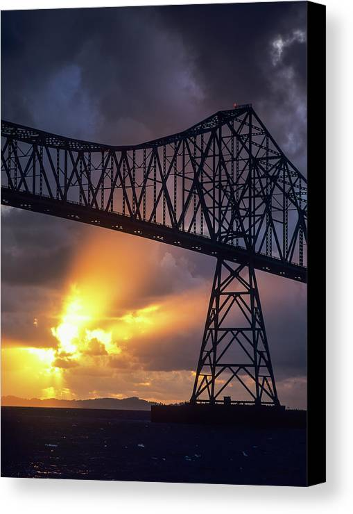 Astoria-megler Bridge Canvas Print featuring the photograph The Sun Sets Below The Astoria-megler by Robert L. Potts
