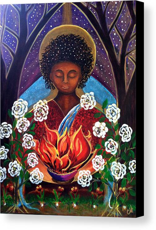 Theotokos Canvas Print featuring the painting Theotokos by Christine Hartmann