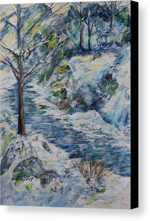 Canvas Print featuring the painting Walking In The Winter by William Spivey