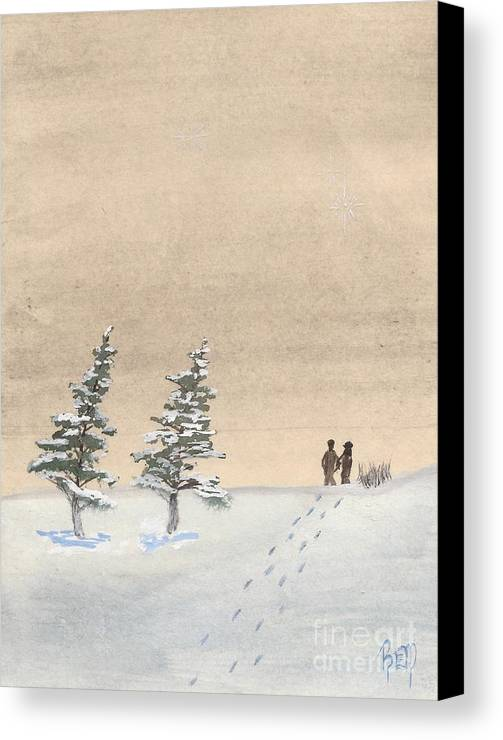 Watercolor Canvas Print featuring the painting Walking Together by Robert Meszaros