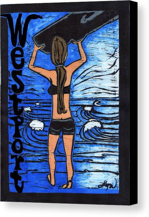 Ocean Canvas Print featuring the mixed media Westport Surfer Chick by Lyn Hayes