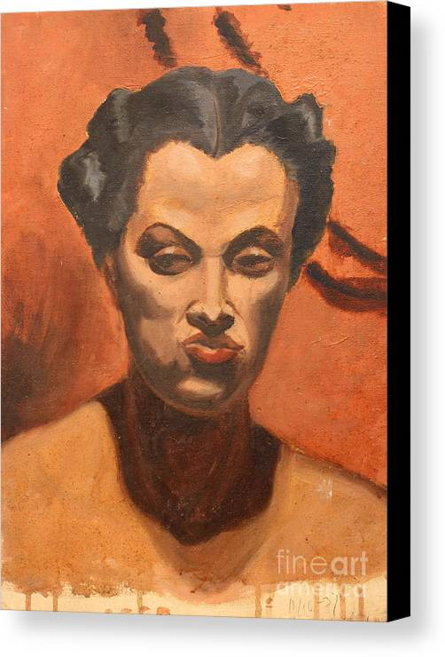 Black Canvas Print featuring the painting Woman In Thought by Art By Tolpo Collection