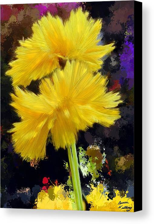 Yellow Canvas Print featuring the painting Yellow Flower With Splatter Background by Bruce Nutting