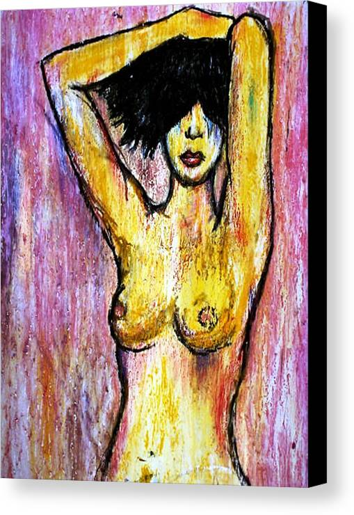 Nude Canvas Print featuring the drawing Yellow by Thomas Valentine