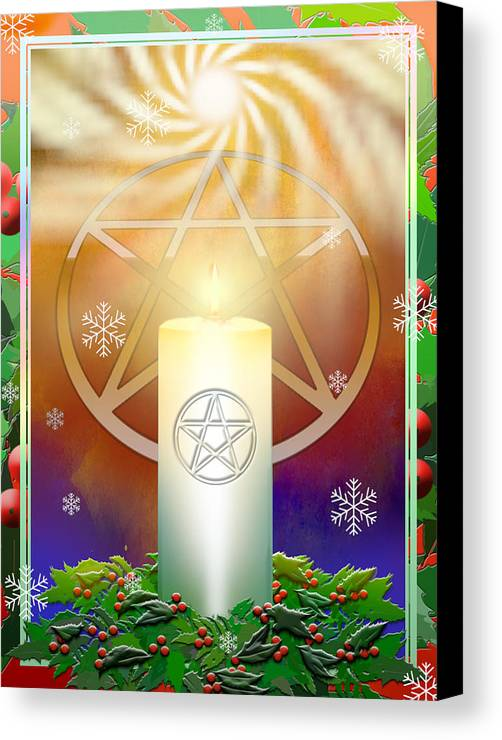 Yule Canvas Print featuring the digital art Yule Sun by Melissa A Benson