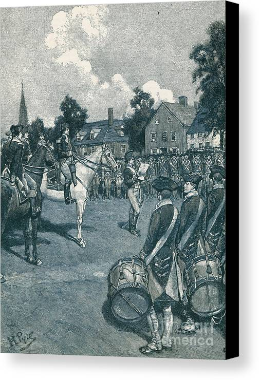 American History Canvas Print featuring the photograph Reading The Declaration Of Independence by Photo Researchers