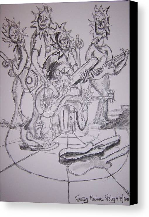 Surrealism Canvas Print featuring the drawing A Band Of Sunflowers by Timothy Foley