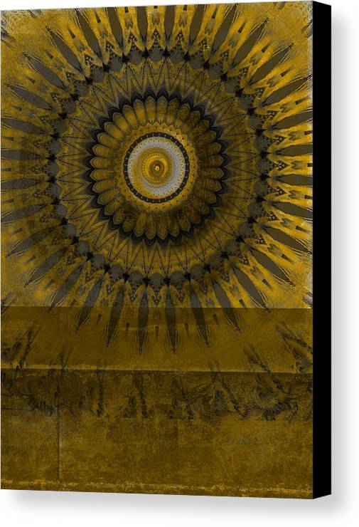 Abstract Art Canvas Print featuring the mixed media Amber Wheel I by Ricki Mountain