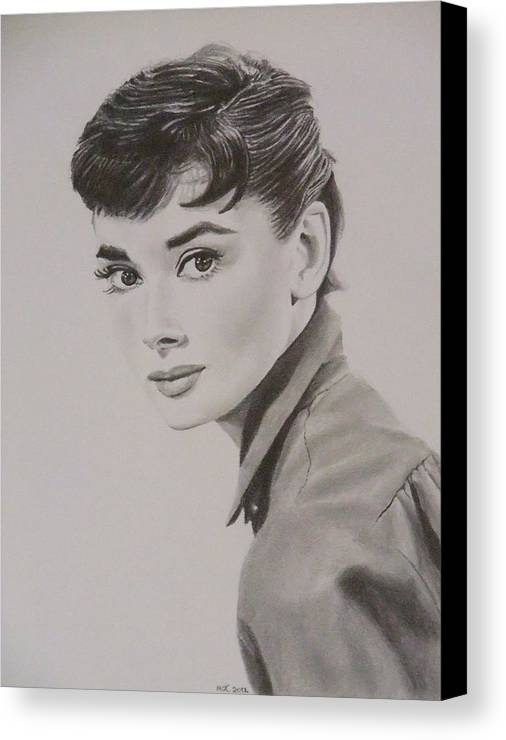 Famous Canvas Print featuring the drawing Audrey by Mike OConnell