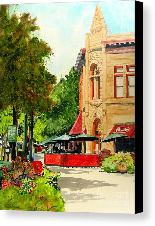 Watercolor Canvas Print featuring the painting Beau Jo's Down Low by Tom Riggs