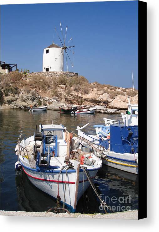 Aegean Canvas Print featuring the photograph Boats And Windmill by Jane Rix