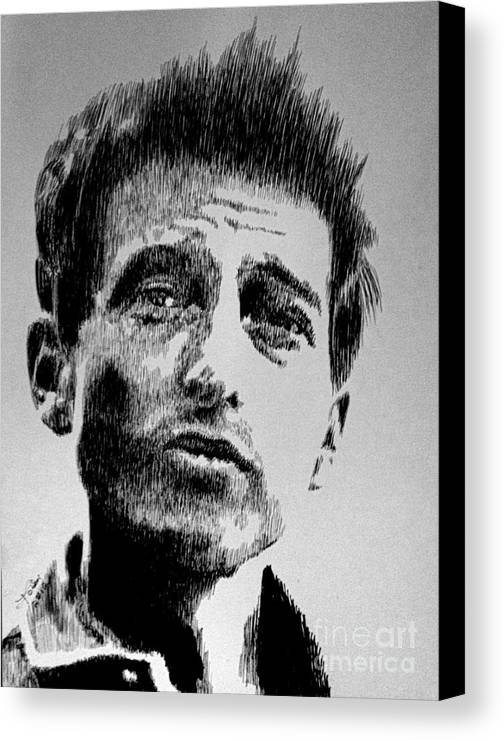Bob Dylan Canvas Print featuring the drawing Bob Dylan by Robbi Musser