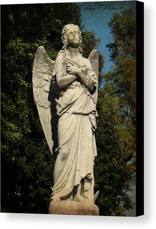 Cemetery Canvas Print featuring the photograph Don't Blink by Brenda Conrad