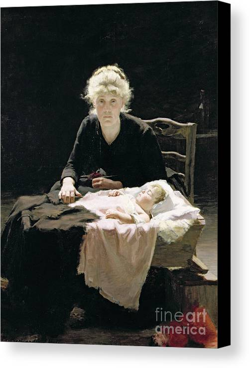 Motherhood; Mother; Maternal; Cot; Manger; Bed; Baby; Child; Asleep; Sleeping; Crib; Vigil; Worry; Anxiety; Anxious; Cradle; Berceau; Fantine Canvas Print featuring the painting Fantine by Margaret Hall