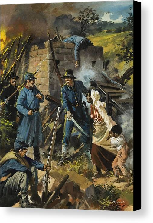 Abolitionist Canvas Print featuring the painting John Brown On 30 August 1856 Intercepting A Body Of Pro-slavery Men by Andrew Howart