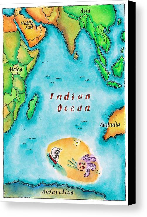 Vertical Canvas Print featuring the digital art Map Of The Indian Ocean by Jennifer Thermes