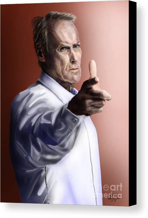 Dirty Harry Canvas Print featuring the painting Men Must Know Their Limitations-clint Eastwood by Reggie Duffie