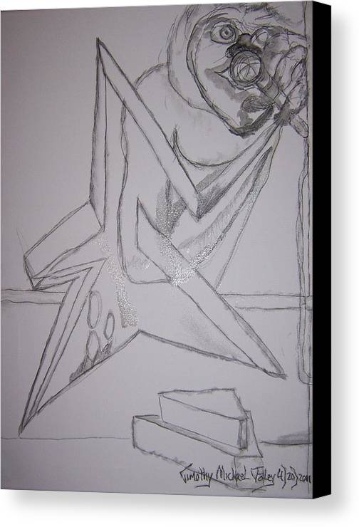 Surrealism Canvas Print featuring the drawing Microphone Stars by Timothy Foley