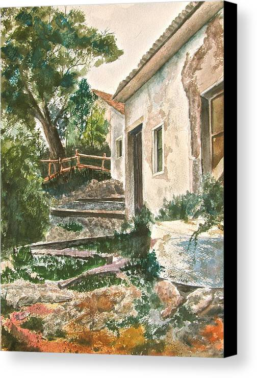 Greece Canvas Print featuring the painting Millstone Aria by Frank SantAgata