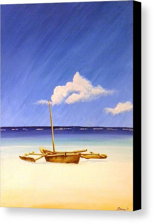 Beach Canvas Print featuring the painting Ngalawa And Cloud by Anina von Wachtel Diani Beach Art Gallery