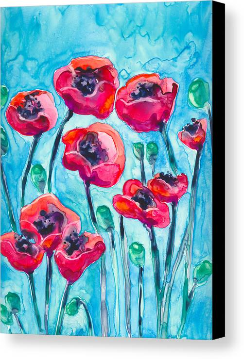 Poppy Canvas Print featuring the painting Poppy Sky by Brazen Design Studio