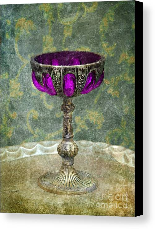 Goblet Canvas Print featuring the photograph Silver Chalice With Jewels by Jill Battaglia
