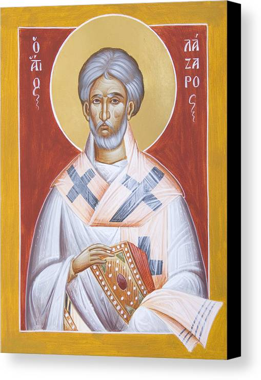 St Lazarus Canvas Print featuring the painting St Lazarus by Julia Bridget Hayes