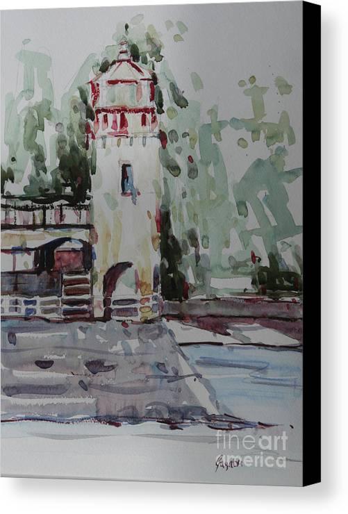 Landscape Canvas Print featuring the painting The Lighthouse by Gayatri Vasudevan