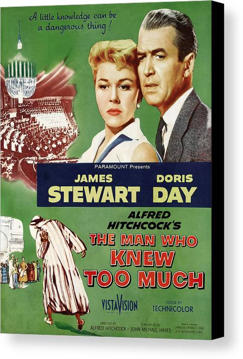 1956 Movies Canvas Print featuring the photograph The Man Who Knew Too Much, Top by Everett