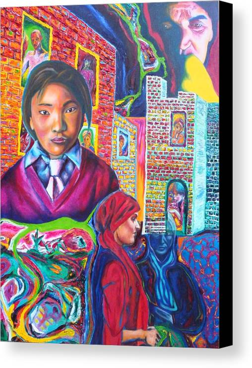 Expressive Portrait Wth Theme Canvas Print featuring the painting Third World Women by Kennedy Paizs