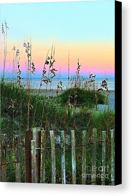Topsail Island Canvas Print featuring the photograph Topsail Island Dunes And Sand Fence by Julie Dant